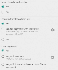 Configuring the way to treat existing translations in a Trados package