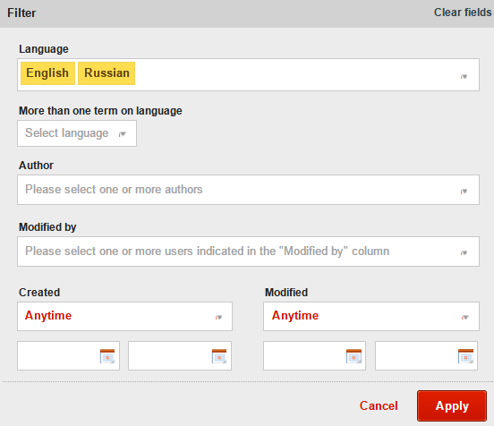 Filtering Terms