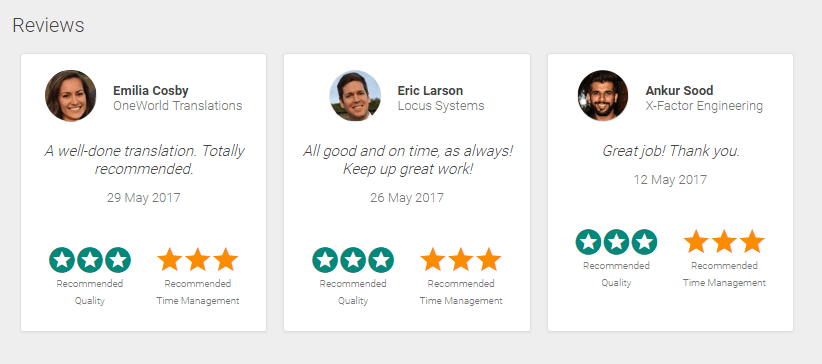Reviews in the freelancer's profile in smartCAT